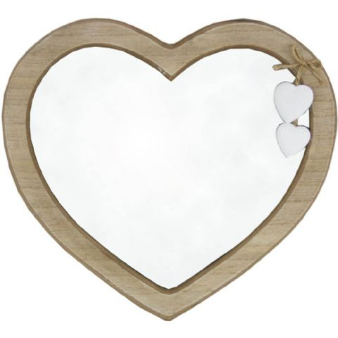 Natural Wooden Heart Shaped Mirror